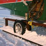 Wheels converted to skis for the move across Sitidgi Lake.